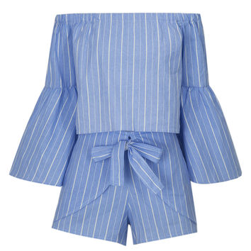 Blue Stripe Off Shoulder Bell Sleeve Top and Wrap Tie Bottom
