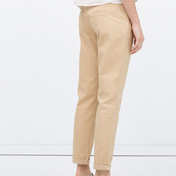 Straight trousers with belt