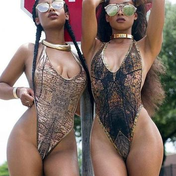 ONETOW Sexy Edgy Snake Print Gradient Color V-Neck Bikini Romper Jumpsuit Set Swimsuit Swimwear