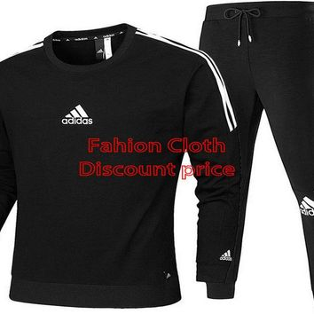 Adidas long-sleeved t-shirt and Trousers 2018 Spring Clothes AK L-4XL AD119 Black