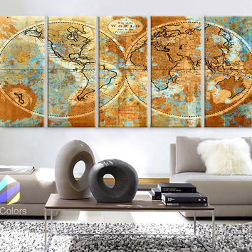 "XLARGE 30""x 70"" 5 Panels 30""x14"" Ea Art Canvas Print World Map Watercolor Old Vintage Rustic Wall Decor Home Office Interior(framed 1.5"" Depth)"