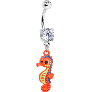 Clear Gem Adorable Orange Baby Seahorse Dangle Belly Ring | Body Candy Body Jewelry