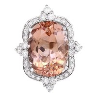 CERTIFIED 13.51 Carat 14K White Gold Natural Pink Morganite and Diamond Cocktail Ring