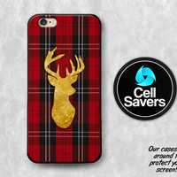 Deer Silhouette iPhone 6s Case iPhone 7 Plus iPhone 6 Plus iPhone 6s Plus iPhone 5c iPhone 5 iPhone SE Case Red Flannel Gold Antlers Plaid