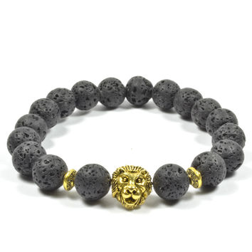 10mm Lava Rock with Golden Lion