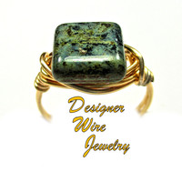 DWJ0437 Chic Night Sky Picasso Czech Art Glass Gold Wire Wrapped Ring All Sizes