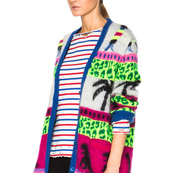 Saint Laurent Jacquard Mohair Dinosaur Cardigan in Multi | FWRD