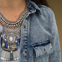 Bohemian Silver Statement Necklace, Big Pendant Bib Necklace, Gypsy Tribal Silver Plated Necklace,  Stylish Big Statement Choker Necklace