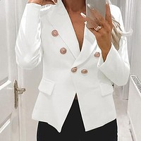 Sexy Thin Blazer Women Button Solid High Fashion Deep V Coat Female Solid Blazers Plus Size