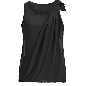 Casual Round Neck Bowknot Ruched Plain Sleeveless T-Shirt
