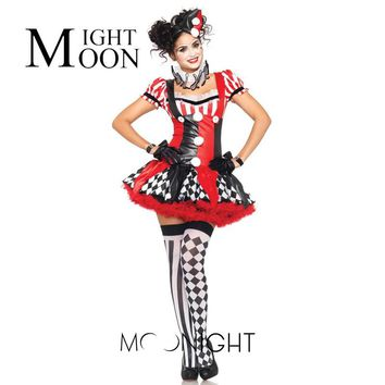 MOONIGHT Adult Women Halloween Costumes Clown Dress Girl Clown Suit Dresses Masquerade Cosplay Costumes Circus Performance Cloth