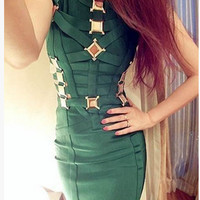 EMERALD GREEN GOLD METAL CUT OUT BANDAGE DRESS