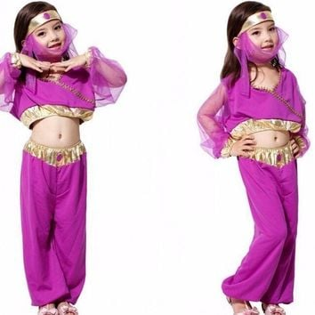 Child Girl Princess Jasmine Aladdin Kids Fancy Purple Dress Halloween Costume