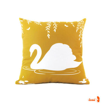 White and Golden Brown Swan in the Swamp 18 inches Square Linen Pillow