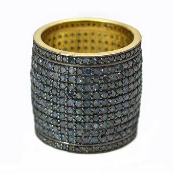 6.31ct Pavé Round Blue Diamonds in 925 Sterling Silver Pipe Cigar Ring