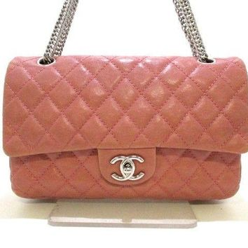 Auth CHANEL Matelasse Pink Silver Leather & Metallic Material Shoulder Bag