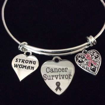 Cancer Survivor Strong Woman Pink Awareness Heart Expandable Silver Charm Bracelet Adjustable Bangle Gift Breast Cancer