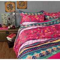 FADFAY Home Textile,Modern Boho Style Bedding Set,Elegant Colorful Rainbow Bedding Set,Designer American Country Style Vintage Floral Duvet Covers,4Pcs
