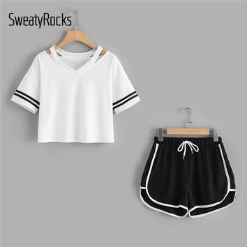 SweatyRocks Stripe Sleeve Top & Drawstring Contrast Trim Shorts Summer Stretchy Sporting 2piece Women V neck Casual Clothing