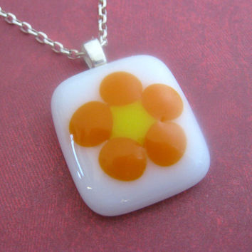 Fused Glass Necklace Petite Wild Flower by mysassyglass