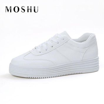 LMFIW1 Fashion Summer Women Causal Shoes Platform Creepers Shoes Basket Flats White Leather T