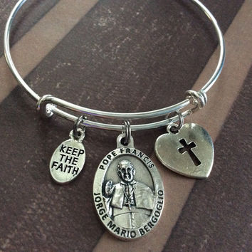 Keep the Faith Pope Francis Silver Medal Expandable Charm Bracelet Inspirational Jewelry