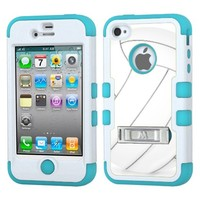 One Tough Shield ® 3-Layer Hybrid Phone Case (Black/Electric Green) for Apple iPhone 4 4s - (Volleyball)