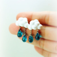 Of Rain and Rainbows. Cloud Earrings and Rain Drops Earring. Spring. Handmade Miniature Jewelry Polymer Clay.