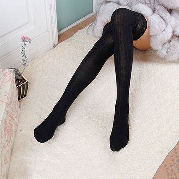 Women's Lace Cotton Over Knee Thigh Stockings Knit High Stocking PY3 J4U66