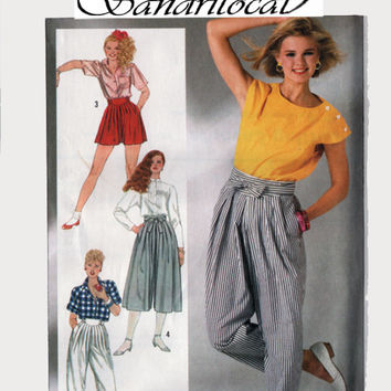 Vintage 1980s 80s High Waisted Pants, Culottes, or Shorts Sewing Pattern Simplicity 7459 80s Sewing Pattern Size 14 UNCUT