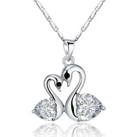 Heart Shaped Crystal Love Pair Silver Tone Swans Necklace (Clear)