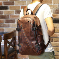 Vintage Men's Brown Leather Zipper Travel Backpack