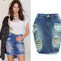 women Slim hole ladies denim bag hip skirt [9918909260]