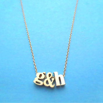 Lower initial necklace, Friendship necklace, Lowercase letter, Customized, Personalized, Monogram jewelry