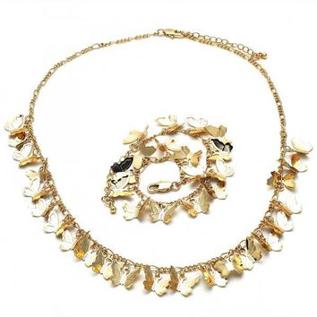 Gold Layered 06.105.0012 Necklace and Bracelet, Butterfly Design, Polished Finish, Golden Tone