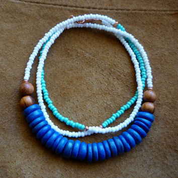Seed Bead Coconut & Wood Necklace - Boho Ethnic Seed Bead Necklace