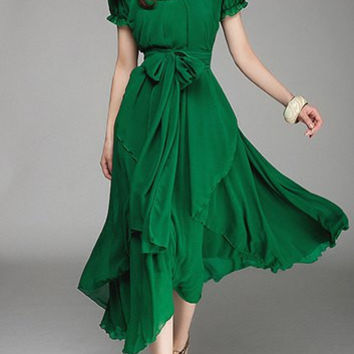 Green Ruffled Short Sleeve Chiffon Dress with Sash