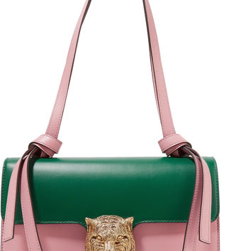Embellished two-tone leather shoulder bag | Gucci | US | THE OUTNET
