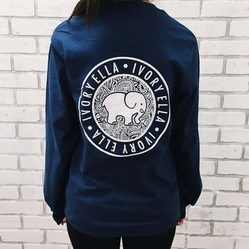 Navy Blue Elephant Print Long Sleeve Women Tshirt