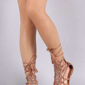 Gladiator Rhinestones Lace Up Flat Sandal