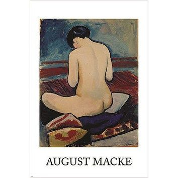 sitting NUDE with PILLOW vintage IMPRESSIONIST poster AUGUST MACKE 24X36 new