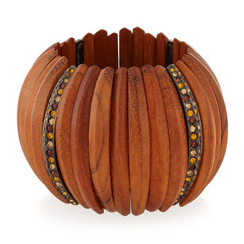 Embellished Wooden Bracelet W/Crystals - Kenneth Jay Lane