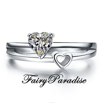 0.5 ct Heart Cut Man Made Diamond Engagment Ring, Double/ Two Heart Promise Ring, Split Shank, Anniversary Band, Valentines Day w Gift Box