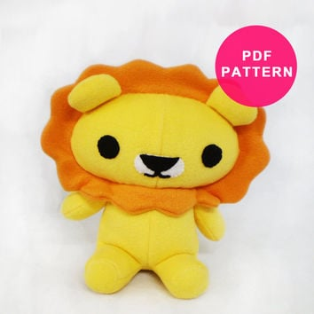 Plush Pattern - Lion Stuffed Animal Sewing PDF
