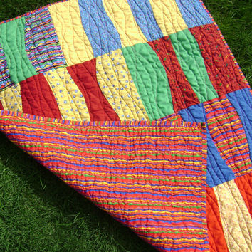 Bright Baby Quilt in Primary Colors - Handmade Curved Wonky Red Yellow Green Blue Purple Baby Blanket