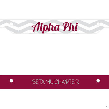 Alpha Phi Chevron Customized Chapter Name Sorority License Plate Frame