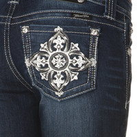 Fleur De Lis Embellished Cross Boot Cut