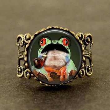 Steampunk frog 1pcs/lot bronze or silver Glass Ring jewelry long crystal antique trendy for sale mens