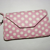 Wristlet iPhone Smartphone Cell Phone Evo Droid iPod Blackberry Mini Purse Horizontal: Pink White Polka Dots
