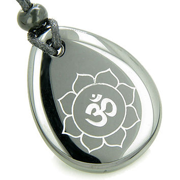 Magic OM and Lotus Sun Circle Amulet Hematite Pendant Necklace